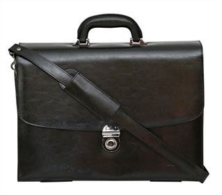 Multi-Folio 17.5' Flapover Leather Laptop Briefcase (LBS109)