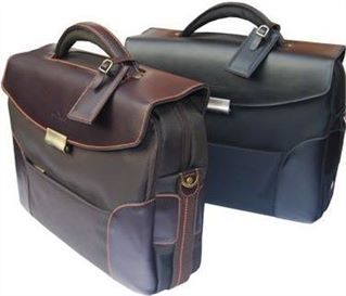 Flapover Laptop Briefcase with Leather Trim (LBS505)