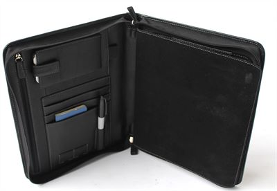 Black Leather Zip Folio and iPad Case (LBS550)
