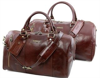 The 'Marco Polo' Leather Holdall Set by Tuscany Leather (LBS706)