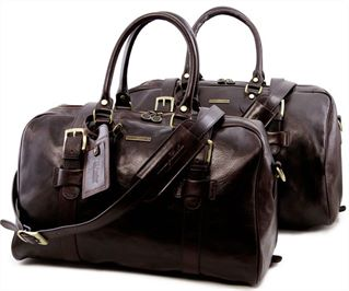 'Vespucci' Double Buckle Holdall Set by Tuscany Leather (LBS709)