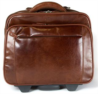Wheeled Concealed Handle Leather Laptop Bag (LBS619)