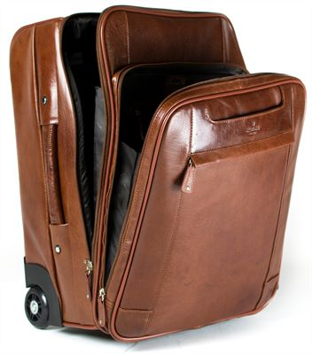 Multi Section Leather Trolley Case (LBS621)