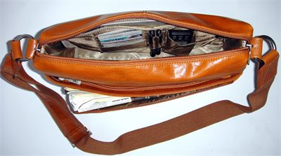 Leather Multi Pocketed Messenger Bag by Pierre Cardin (LBS674)