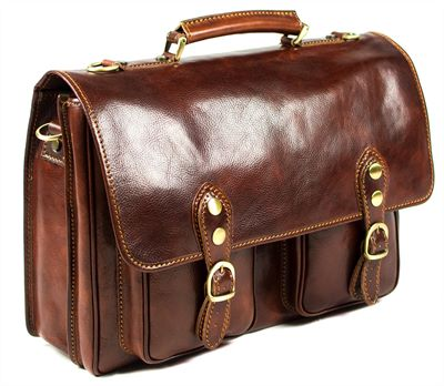 'Carello' Medium size Handmade Italian Leather Briefcase (LBS691)