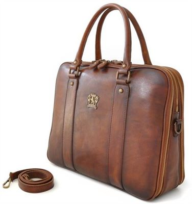The Pratesi Handcrafted Twin Handle Leather Briefcase (LBS693)