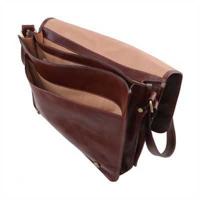 Italian Handmade Large Leather Messenger Bag (LBS808)
