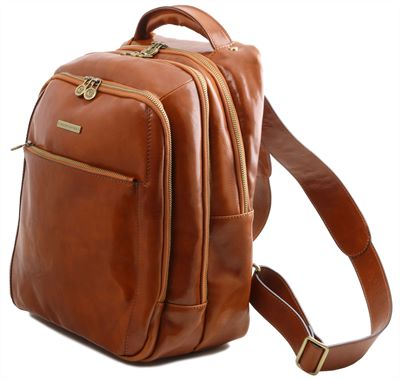 Handmade Multi Section Italian Leather Backpack by Tuscany Leather (LBS810)