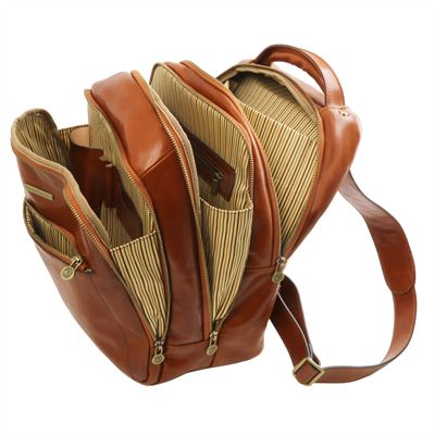 Handmade Multi Section Italian Leather Backpack by Tuscany Leather (LBS811)
