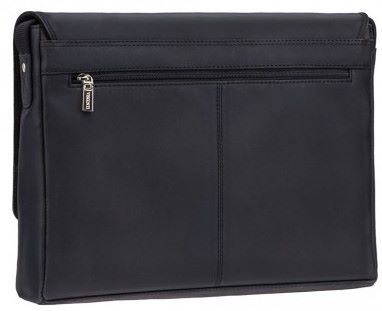 Black Leather Messenger Bag in Distressed Leather (LBS831)
