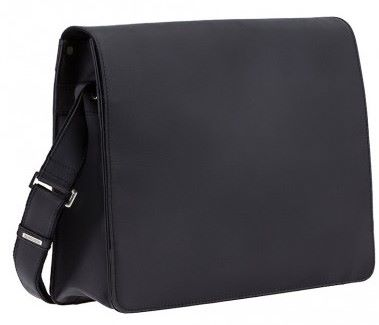 Large Matt Black Leather Messenger Bag (LBS833)