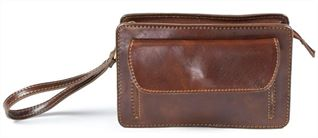 Italian Handmade Brown Leather Wrist Bag (LBS839)