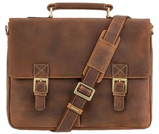 Flapover Leather Laptop Briefcase (LBS138)