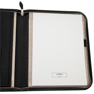 The 'Mayfair' Premium Leather Zipped Folio by Laurence London (LBS849)