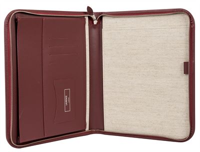 The 'Mayfair' Premium Leather Zipped Folio by Laurence London (LBS851)