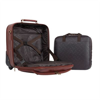Compact Size Wheeled Concealed Handle Leather Laptop Bag (LBS602)