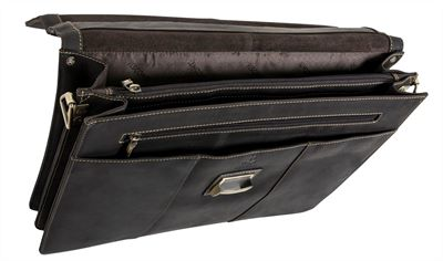 Single Buckle Brown Leather Briefcase (LBS132)