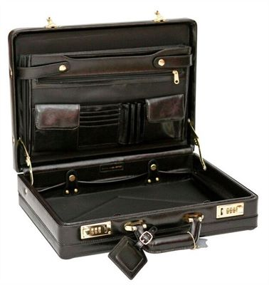 Cowhide Leather Expanding Attache Case (LBS035)